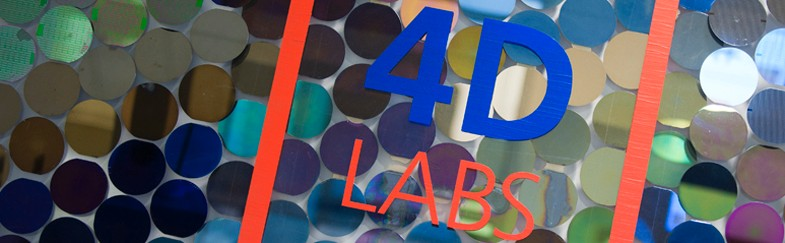 A sign featuring the 4D LABS logo